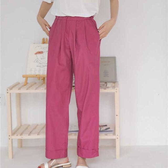 <即納:4-6日>【クーポン併用で最安値更新】 韓国ファッション おしゃれ シンプル 美脚 パンツ レディース パンツ 見なきゃ損する!
