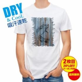 Tシャツ 木に書かれたトラウトのイラスト 釣り 魚 ルアー 送料無料 メンズ 文字 春 夏 秋 インナー 大きいサイズ 洗濯