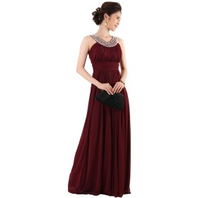 [アールズガウン]ロングドレス 演奏会 結婚式 ノースリーブ 大きいサイズ パーティー用 フォーマル パール 黒 ホワイト FD-070145 (バーガンディー, 4L)