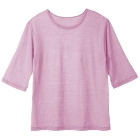 Tシャツ tシャツ レディース 夏 7分丈 ひんやり涼感7分袖Tシャツ(ピンク M-L)