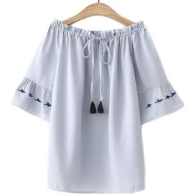 [ンーセンー] 春夏 インナー Tシャツ 新品 韓版 半袖 シャツ レディース カジュアル ドルマンスリーブ 大きいサイズ 純色 刺繍 レース 着痩せ 上着 ブルーF