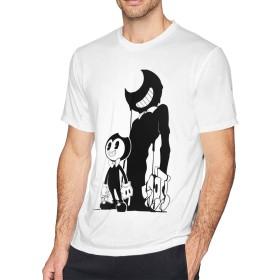 大きいサイズ メンズ Tシャツ 半袖 Bendy And The Ink Machine ベンディマシン プリント コットン 吸汗速乾 透けない インナーシャツ クルーネック ファッション プレゼント