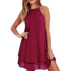 Liebeye ハーネスドレス 女性 セクシー ノース リーブ バックレス ホルター ドレス エレガント ソリッド カラー スカート L赤ワイン