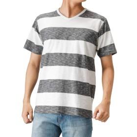 Tシャツ メンズ 半袖 棉 Vネック カットソー 半袖Tシャツ ボーダーTシャツ おしゃれ カジュアル ボーダー MH/03521SS-1 メンズ ダークグレー:L