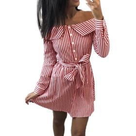 ワンピース 縞模様 ドレス YOKINO 膝上丈 きれいめ 夏 リゾート レディース 日常 パーティー 女性セクシー お呼ばれ 春 可愛い キャバ 肩出し ワンピース (XL, レッド)