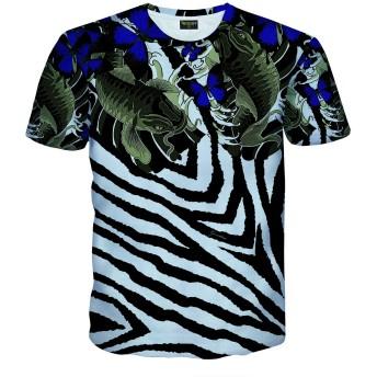Pizoff(ピゾフ) メンズ Tシャツ 半袖 総柄 鯉柄 B系 原宿系 ファション ストリート 大きいサイズ カジュアル カットソーAC145-48-XL