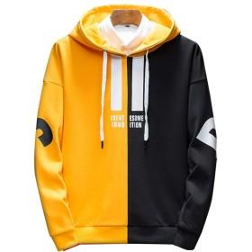 パーカー メンズ プルオーバーパーカー スウェットシンプル 長袖 フード付 ポケットあり オシャレ yellow(薄手) 2XL