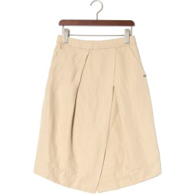 【50%OFF】ラップ風 レイヤードスカート インナー付 ベージュ 40