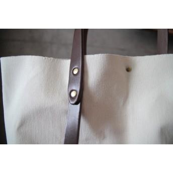 極厚牛革ベルト(濃茶) ●大容量・軽量● 倉敷帆布トート イニシャルスタンプ無料