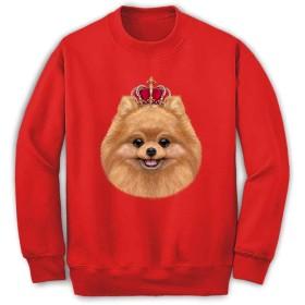 Fox Republic 【遊ぶポメラニアン ドッグ 犬 いぬ 王冠】 メンズ スウェット トレーナー レッド L