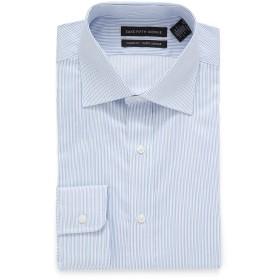 【86%OFF】ストライプ スプレッドカラー フィットシャツ ライトブルー 16.5/34