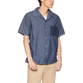 [クリフメイヤー] インディゴ総柄開襟シャツ 半袖シャツ オープンカラーシャツ 開衿シャツ デニム風 羽織り LARGE インディゴブルー