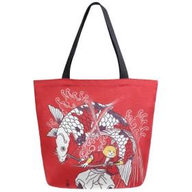トートバッグ 猫の侍魚を解く キャンバスバッグ レディース 大容量 2way 帆布 サブバッグ 多機能バッグ