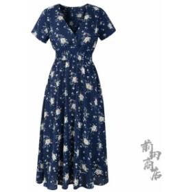 730A12レディース  ドレス ワンピース 花柄  半袖 ゆったり 膝丈ワンピース ドレス ロング 体型カバー きれいめ 上品 Vネック ドレスフ