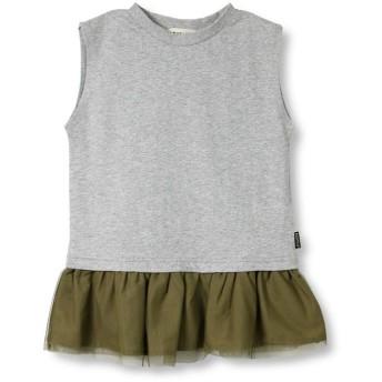ブランシェス 裾チュール切替Tシャツ(90~140cm) レディース 杢グレー 120cm 【branshes】