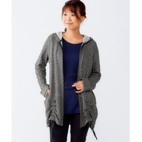 裾シャーリングデザインパーカ―(オトナスマイル) (大きいサイズレディース)パーカー,plus size