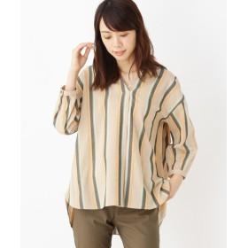 SHOO・LA・RUE/Mrs.(シューラルー/ミセス) サテンドビーストライプシャツ
