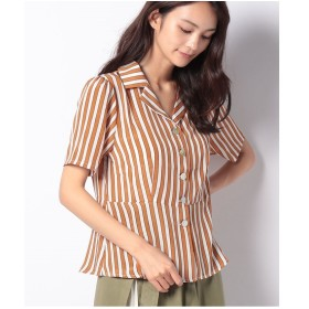 Melan Cleuge ストライプオープンカラーペプラムシャツ(オレンジ)【返品不可商品】