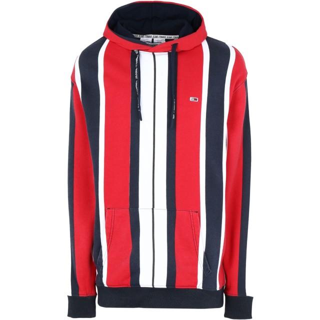 《セール開催中》TOMMY JEANS メンズ スウェットシャツ レッド S コットン 98% / ポリウレタン 2% TJM VERTICAL STRIPE