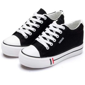 [Kumi] ズック靴 スニーカー レディース 白 黒 キャンバス ランニング 中敷き ジョギング ウォーキング 22cm salt 人気 24 25 通気性 シューズ 軽量(36 ブラック)