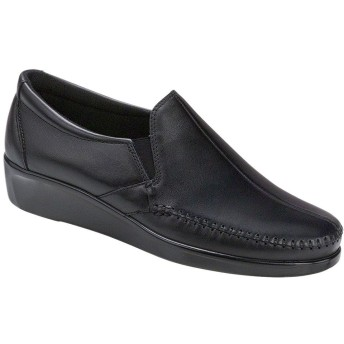 SAS Womens Dream Leather Loafers, Black, Size 6.5