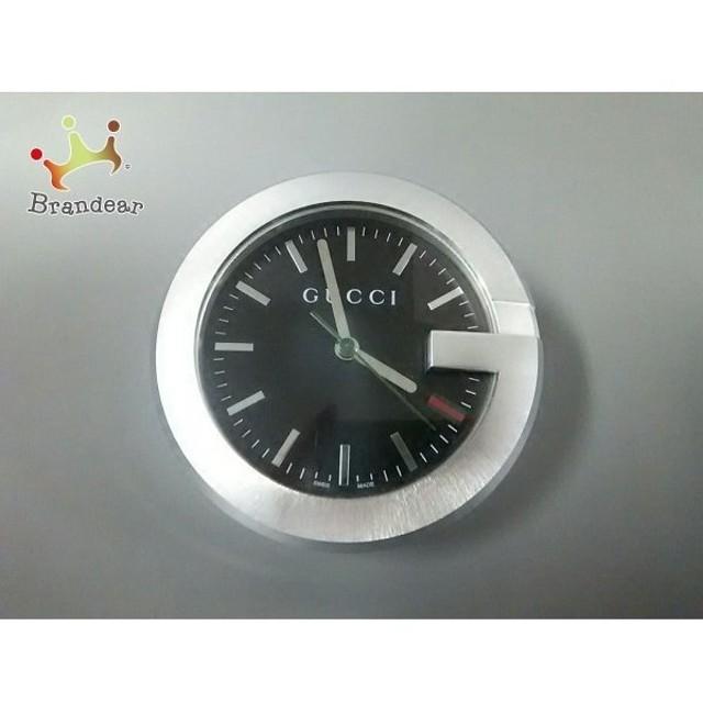 watch 78e2f 455ba グッチ GUCCI 小物 美品 シェリー 210 シルバー×黒 置時計(動作 ...