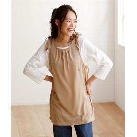 2点セット(ラウンドネックTシャツ+肩リボンタンクトップ) (大きいサイズレディース)Tシャツ・カットソー
