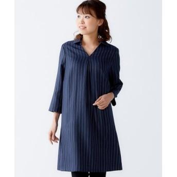 7分袖スキッパーシャツチュニック(オトナスマイル) (大きいサイズレディース)plus size tops, 上衣