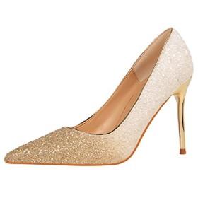 (ノーブランド)シューズ ハイヒール スパンコール キラキラ ファシオ カジュアルハイヒール/ピンヒールパンプス/靴/日常/仕事/ウェディング/結婚式/通勤/全8色 high heels ホワイト 23.5CM