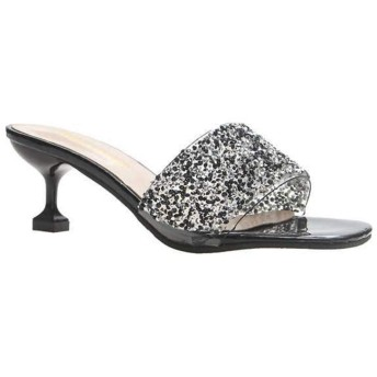 [イノヤシューズ] ミュール クリア サンダル レディース 黒 24.0cm チャンキーヒール かわいい クリアサンダル シルバー/銀色 大きいサイズ 高い 24.0cm ブラック/歩きやすい 旅行 疲れない 裸足 24.0cm ヌーディー 美脚 つっかけ 太ヒール 安定 立ち仕事靴 24.0cm コンフォート