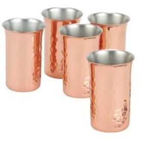 ビアカップ ビアグラス ビールグラス 5個セット 来客用 純銅 槌目 一口ビール 5PCSセット 銅 日本 燕三条産【ASH-1706】