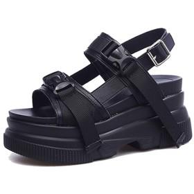 [SENNIAN] オープントゥサンダルレディース 24.5cm スニーカー靴 厚底 運動スニーカーサンダル 通気性 ハイヒール8cm ウェッジソール通勤 ブラック 綺麗め 前厚 疲れないスポーツサンダル 学生 女性グラディエーター風