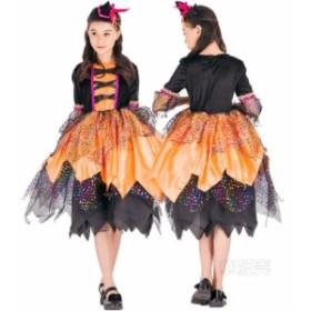 コスプレ 魔女 巫女 子供 女の子 ハロウィン衣装 魔女風 ダンス衣装 コスチューム パーティーグッズ イベント 子供服 ウィッチガール