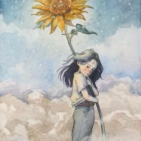 水彩原画A4心の花