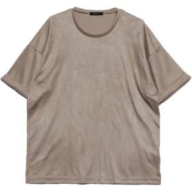 コムサイズム COMME CA ISM フェイクスエード ビッグTシャツ (ベージュ)