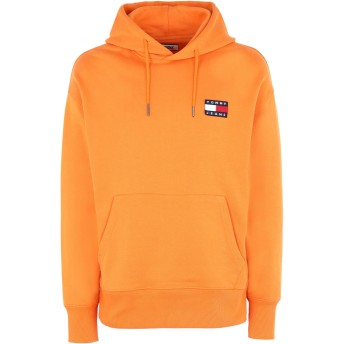《期間限定セール開催中!》TOMMY JEANS メンズ スウェットシャツ オレンジ S コットン 100% TJM TOMMY BADGE HOOD