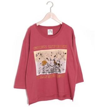 スカラー ScoLar 3羽のウサギ七分丈Tシャツ (ボルドー)