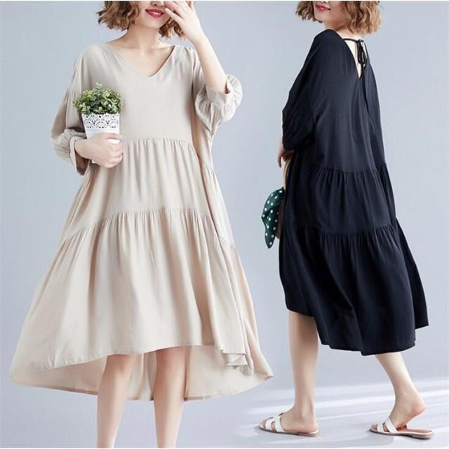 2019夏新作入荷 超高品質 韓国ファッション ワンピース ゆったり 大きいサイズ シンプルなデザイン レディース 夏 ファション ロング丈