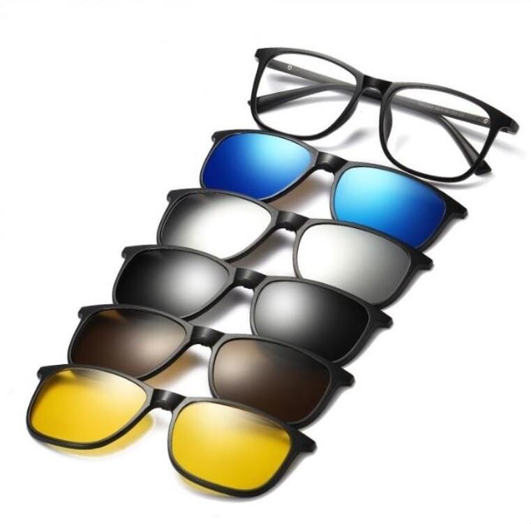 {六合一套裝}磁吸式太陽眼鏡 tr90鏡架 偏光鏡片 運動墨鏡 ua400 防紫外線 汽車機車 附