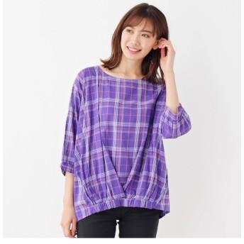 【シューラルー/SHOO・LA・RUE】 リボンカフスプリントシャツ