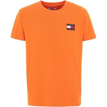 《期間限定 セール開催中》TOMMY JEANS メンズ T シャツ オレンジ S コットン 100% TJM TOMMY BADGE TEE