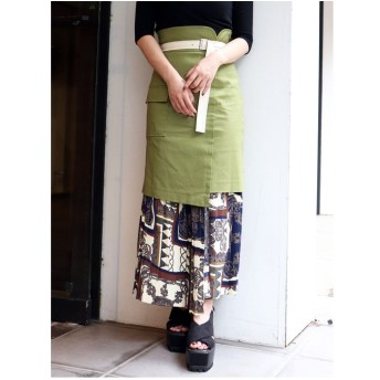 MURUA スカーフプリーツラップスカート(カーキ)