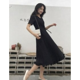 【送料無料】 ワンピース 体型カバー 半袖 ロングワンピース Aライン フリル ブラック シンプル