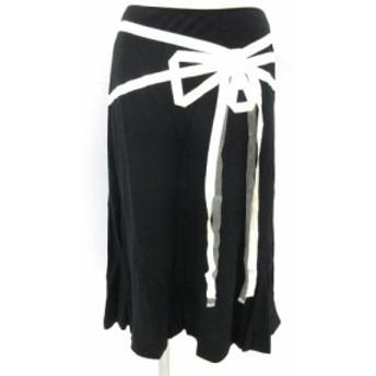 【中古】ロイスクレヨン Lois CRAYON フレアスカート ミモレ リボン リネン混 黒 ブラック M