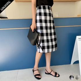 【GOGOSING】チェック柄ボタンスカート(ミディ)★レディーススカート チェック柄 ミディスカート 新作 韓国 ファッション p000dauq