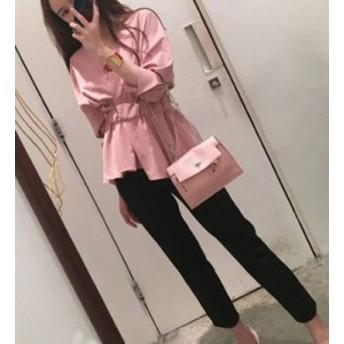 【送料無料】 ワンピース 体型カバー チュニックシャツ 七分丈 フレア ストレートパンツ