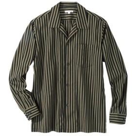 ストライプ柄開襟長袖シャツ カジュアルシャツ