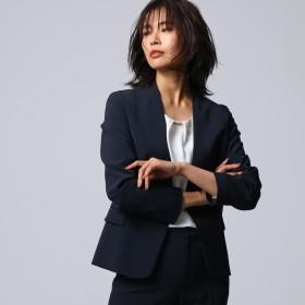 アンタイトル UNTITLED 【洗える】ノーカラーダブルクロスジャケット (ネイビー)