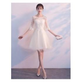 シースルー ワンピース 韓国 パーティードレス 結婚式のお呼ばれ パーティー 結婚式 二次会 半袖 袖有り レーストランペットスリーブ 膝
