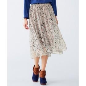 花柄ギャザースカート(オトナスマイル) (大きいサイズレディース)スカート,plus size
